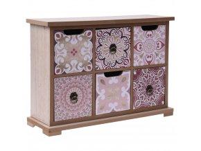 Dřevěná skříňka KYRA DESIGN se 6 zásuvkami na drobnosti