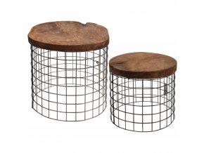Sada: stolička z přírodního týkového dřeva, kulatá, podnožka, 2 ks Home Styling Collection