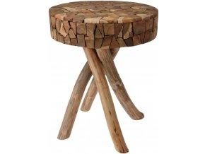 Taburet z přírodního týkového dřeva - stolička