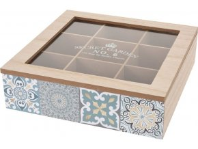 Dřevěný box na čaj, 9 přihrádek - přírodní dřevo Home Styling Collection