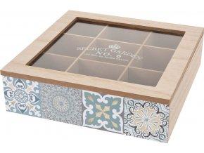 Dřevěný box na čaj, 9 přihrádek - přírodní dřevo