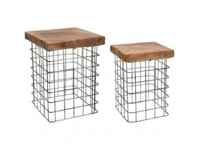 Sada: stolička z přírodního týkového dřeva, obdélníková, podnožka, 2 ks