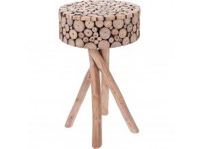 Taburet z přírodního týkového dřeva - stolička 36X61 cm Home Styling Collection