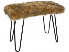 Stolek FUR Design, taburet s kožešinou - hnědý