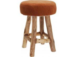 Taburet, hnědá barva, podnožka, z týkového dřeva Home Styling Collection