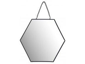 Černé nástěnné kovové zrcadlo s přívěskem, 20x17 cm