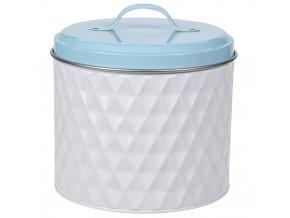 Kovová kulatá nádoba  pro uchovávání, barva bílá, Ø 17 cm