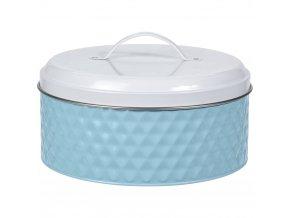Kovová kulatá nádoba  pro uchovávání, barva modrá,  Ø 25 cm