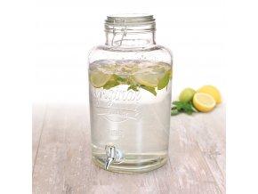 Skleněná nádoba s kohoutkem a víkem - dávkovač nápojů, 8 l Emako