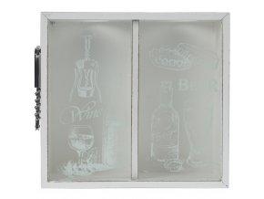 Organizátor na zátky a víčka + 2x otvírák, dekorace, barva bílá