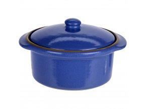 Keramický hrnec s poklicí, ohnivzdorné nádobí, tmavě modrá barva
