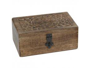 Dřevěný box na drobnosti, dřevo mango, tmavé dřevo, 15 x 10  x 7 cm