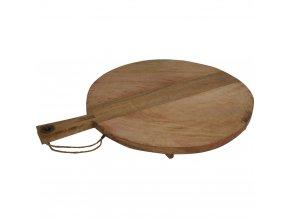 Dřevěné krájecí prkénko - kuchyňské, kruhové s rukojetí i nohami, na servírování jídla, 46 x 58 cm