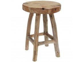 Taburet z přírodního týkového dřeva - stolička, opěrka nohou, 30 x 40 cm