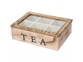 Dřevěný box na čaj 6 přihrádek TEA kazeta