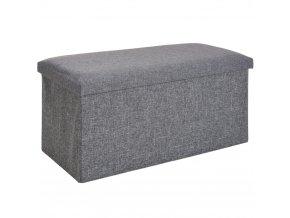 Taburet, kontejner  s víkem- 2 v 1, barva šedá