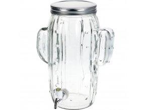 Dávkovač nápojů KAKTUS, skleněná nádoba s kohoutkem a víkem KAKTUS, zásobník na nápoje, 4 l EH Excellent Houseware