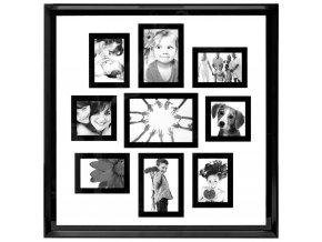 Obdélníkový rámeček pro 9 fotek, fotorámeček, rámeček na fotky - mini galerie na fotky, barva černá