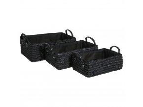 Skladovací box, úložný box, košík kosmetický, koupelnový box, box pro kosmetiku,  doza na sperky, košík na drobnosti  - 3 ks,  barva černá INSTANT D'O