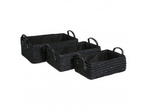 Skladovací box, úložný box, košík kosmetický, koupelnový box, box pro kosmetiku,  doza na sperky, košík na drobnosti  - 3 ks,  barva černá
