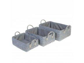Skladovací box, úložný box, košík kosmetický, koupelnový box, box pro kosmetiku,  doza na sperky, košík na drobnosti  - 3 ks, šedá barva