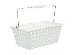 Organizér, kosmetický koš, koupelnový kontejner, box pro kosmetiku, box s rukojetí - barva bílá, 30 x 22 x 15 cm