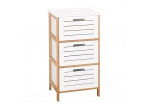 Regál bambusový s 3 zásuvkami - bílý prádelník, úložný box Emako