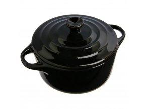 Keramické nádobí, keramický hrnec pro zapékání, nádobí pro dezertů, žáruvzdorné nádobí, nádobí pro servírování dipů -  Ø 10 cm, barva černá, 200 ml