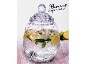 Skleněná nádoba s kohoutkem a víkem ANANAS - dávkovač nápojů, 6 l