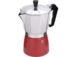 Hliníkový kávovar v červené barvě ESPRESSO, 18x16x10 cm, 300 ml