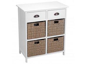 Dřevěný prádelník s zásuvkami + 4×koš