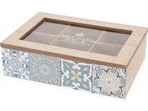 Dřevěný box na čaj, 6 přihrádek - přírodní dřevo Home Styling Collection