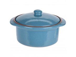 Keramický hrnec s poklicí, ohnivzdorné nádobí, barva modrá