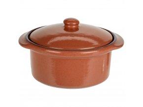 Keramický hrnec s poklicí, ohnivzdorné nádobí, barva hnědá Emako