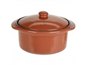 Keramický hrnec s poklicí, ohnivzdorné nádobí, barva hnědá