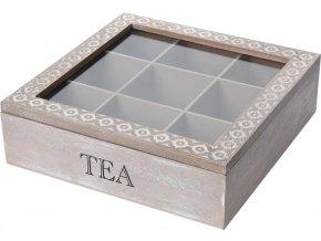 Dřevěný box na čaj, 9 přihrádek