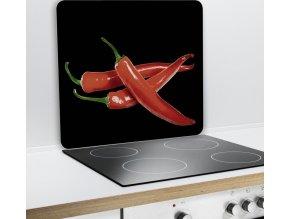 Ochranný skleněný panel HOT CHILLI na sporáky - 50 x 56 cm, WENKO