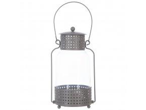 Lucerna, svícen, skleněná lucerna, podlouhlá lucerna, dekorace pro domov, 12,5 x 23 cm, šedá barva