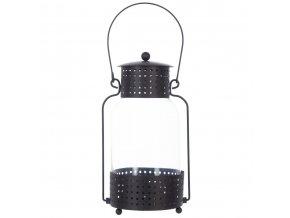 Lucerna, svícen, skleněná lucerna, podlouhlá lucerna, dekorace pro domov, 12,5 x 23 cm, černá barva
