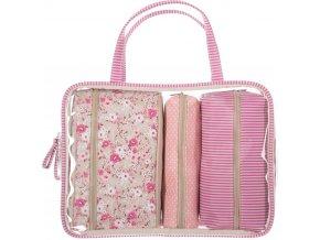 Dámská etue, kosmetická etue, kosmetička na sprchové doplňky a kosmetiku, kosmetický kufřík, LIBERTY ROSE - 4 ks, růžová barva