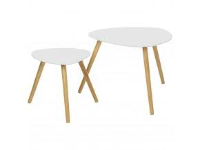 Konferenční stolek, stůl, dřevěný stolek, odkládací stolek, příležitostný stolek, balkonový stolek, bílá barva, sada - 2 ks