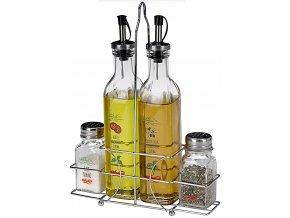 Zásobník na ocet a olej + solnička a pepřenka