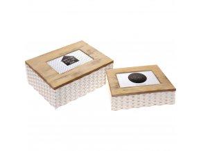 Home Styling Collection Box s kovovým rámem na obrázky 2v1, dóza na drobné předměty, kazeta, 2 ks