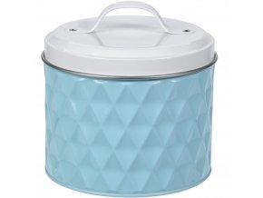 Kovová kulatá nádoba  pro uchovávání, barva modrá, Ø 14 cm