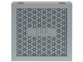 Dřevěný box na čaj, kazeta  - 9 přihrádek, zelená barva