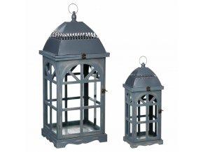 Dřevěná lucerna s rukojetí LUCERNA, lampa, 2 ks, šedá barva