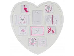 Obdélníkový rámeček pro 10 fotek ROMANCE,  fotorámeček, rámeček na fotky - mini galerie na fotky, srdce