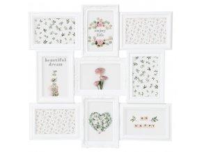 Obdélníkový rámeček pro 9 fotek ROMANCE,  fotorámeček, rámeček na fotky - mini galerie na fotky, 50x50x2 cm