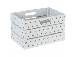 Koš pro skladování, box, nádoba, box ve hvězdách - bílo-taupe barva, 29 x 20 x 18 cm