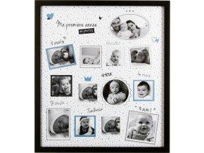 Obdélníkový rámeček pro 12 fotek , fotorámeček, rámeček na fotky - mini galerie na fotky,  barva černá, 37 x 42 cm